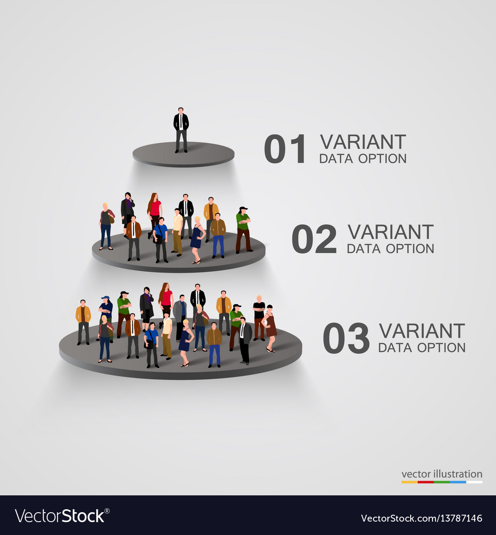 People on a pedestal in the hierarchy vector image