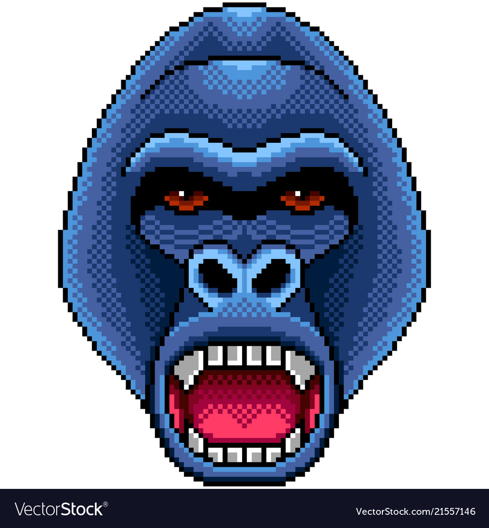 Pixel angry gorilla portrait detailed isolated