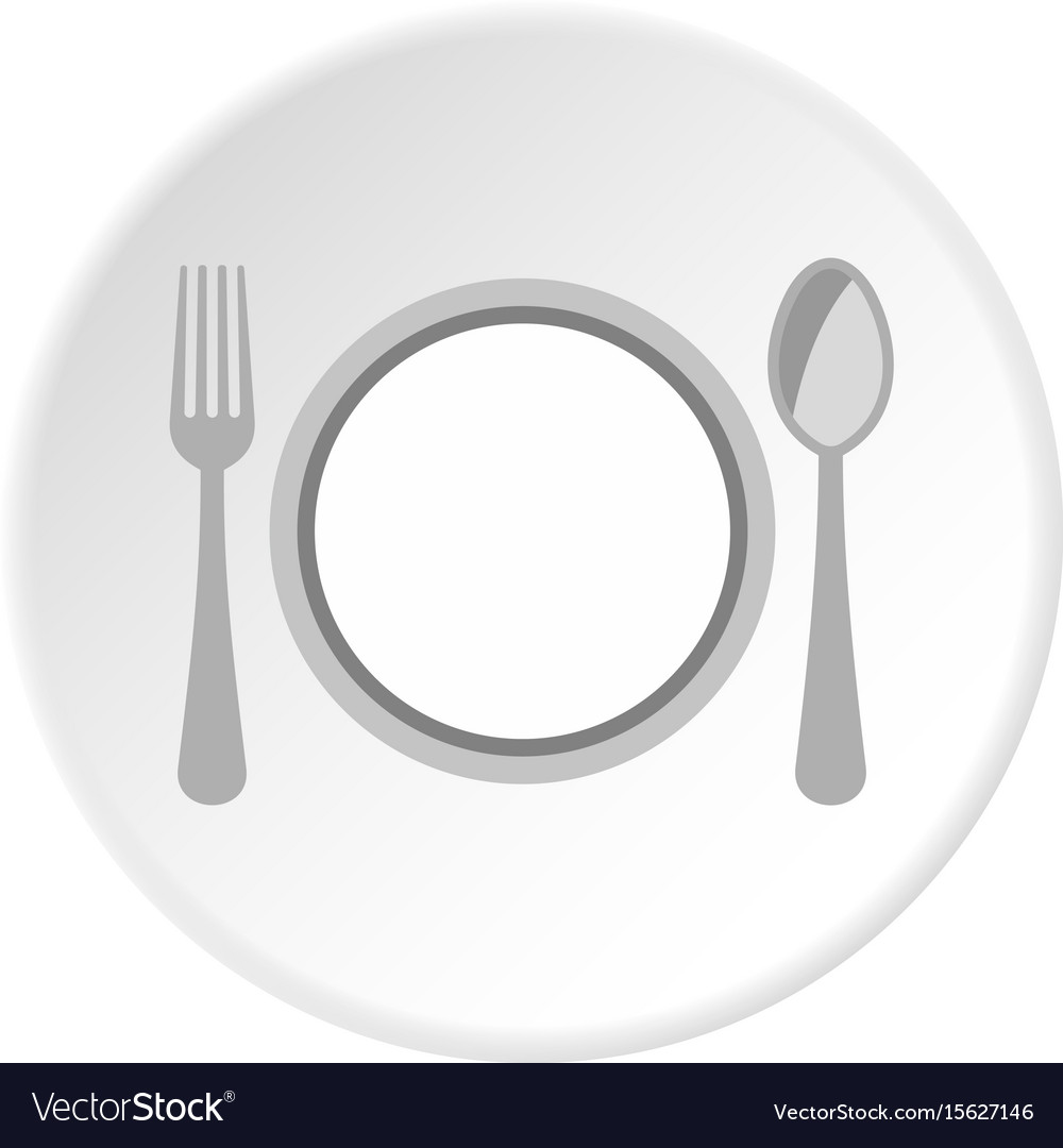 Plate spoon and fork icon circle vector image