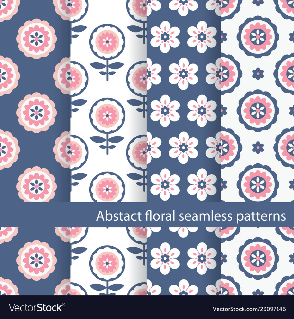 Set floral ethnic seamless patterns
