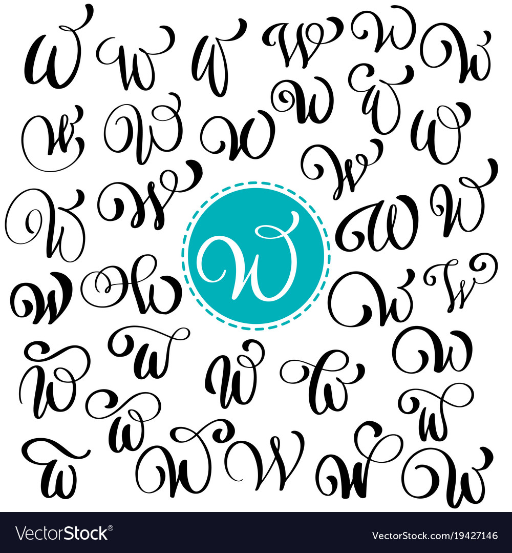 Set Of Hand Drawn Calligraphy Letter W Vector Image