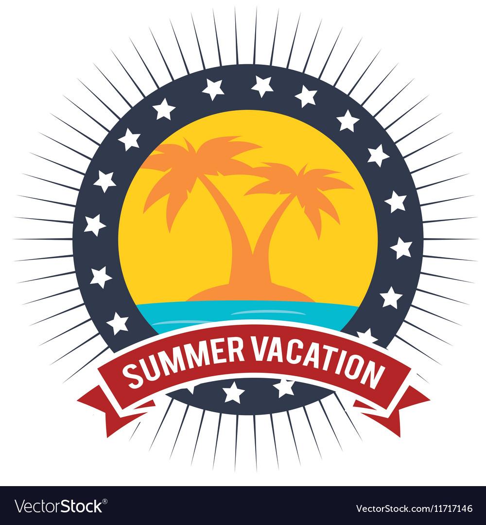 Vacation badge palm tree beach graphic