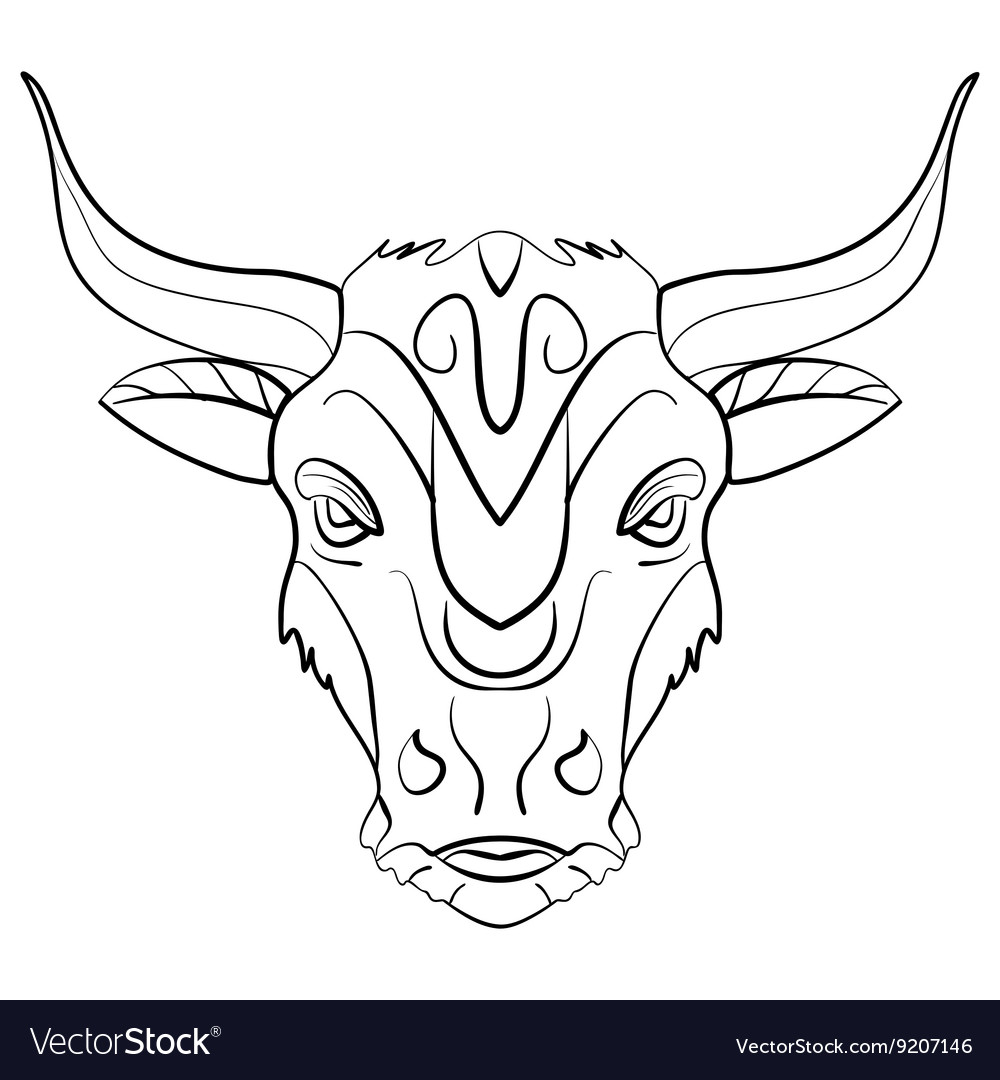 Vintage Bull Tattoo Ink Sketch Royalty Free Vector Image
