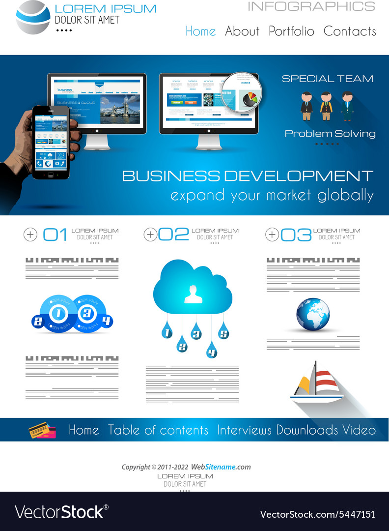 Attractive Modern Web Template With Flat Ui Vector Image