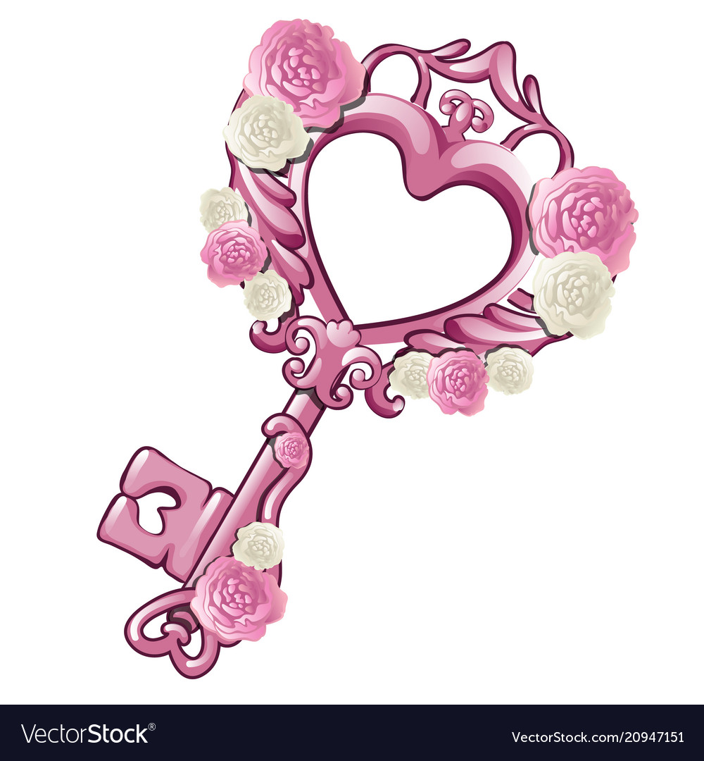 Beautiful vintage key in the shape of a pink heart