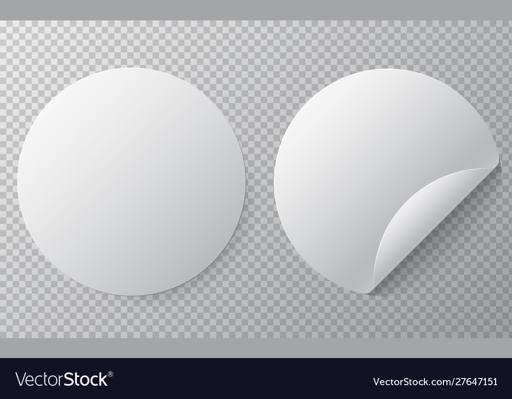 Blank round sticker mock up with curved corner