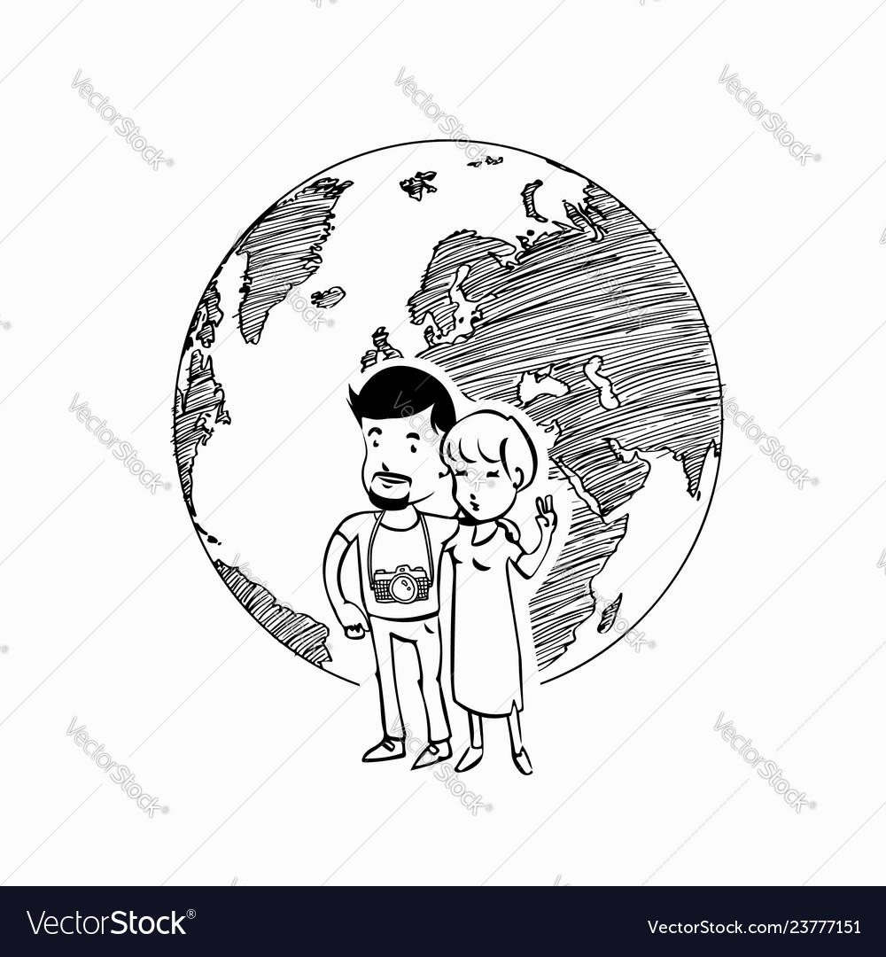 Couple travel world logo