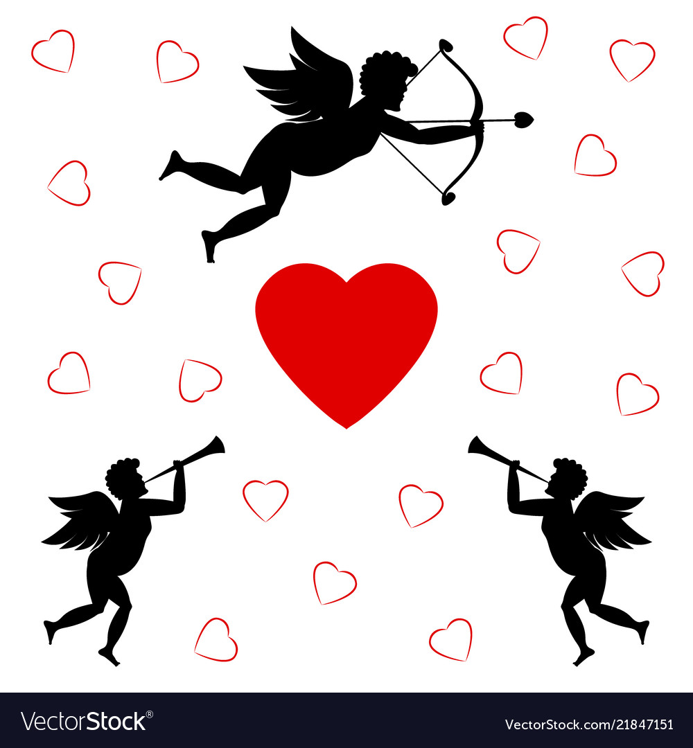Cupids and red heart