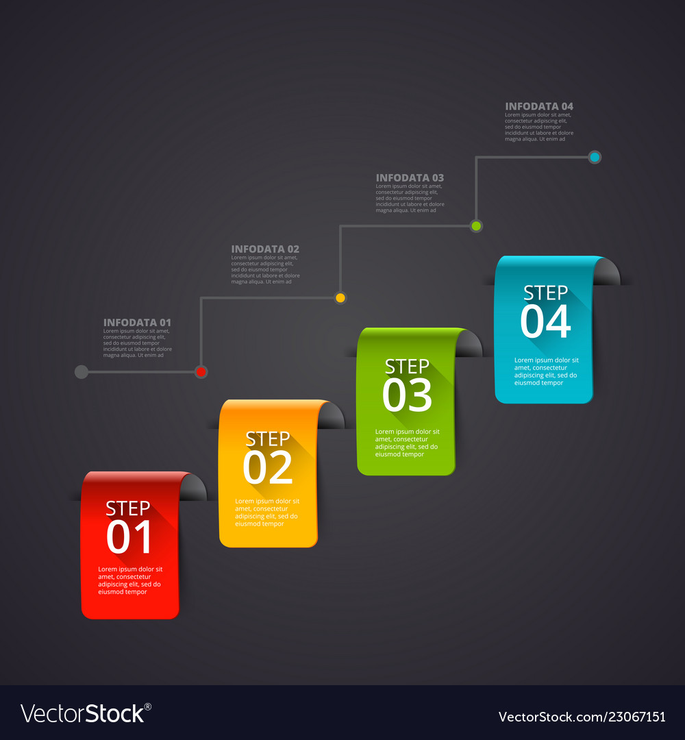 Dark abstract infographics number options template