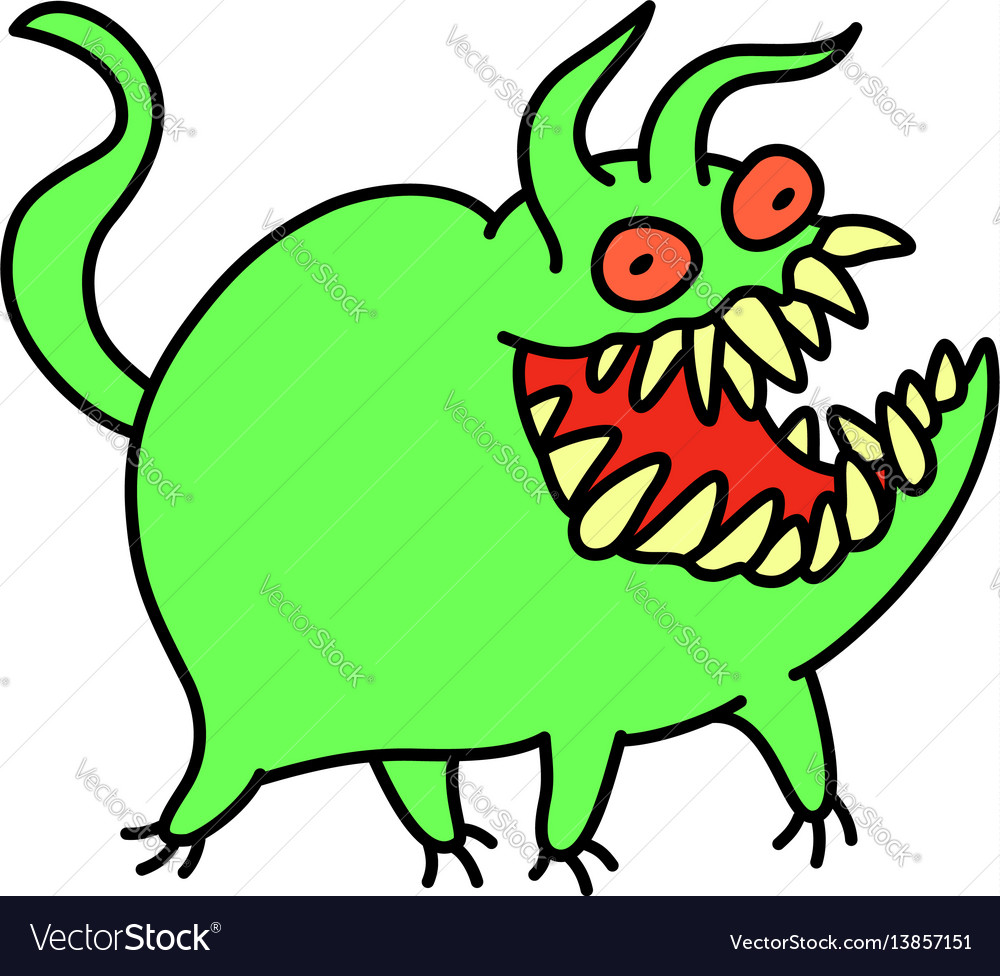 Funny cute green monster smiles and runs vector image