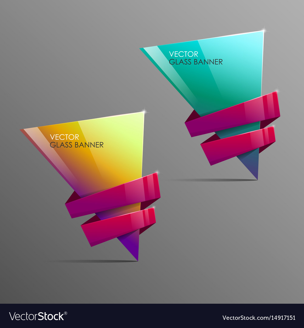 Glass banners with abstract shape