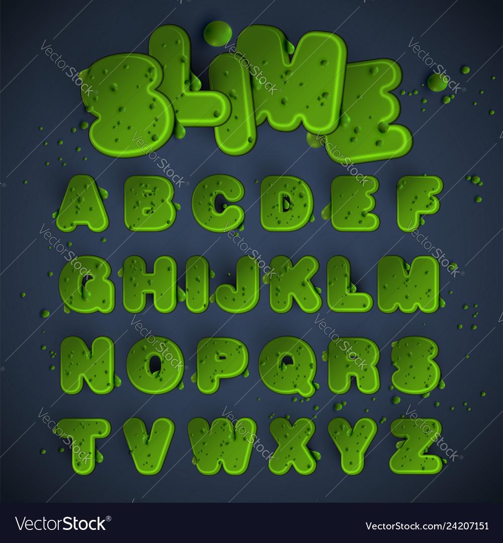 Green slime font set