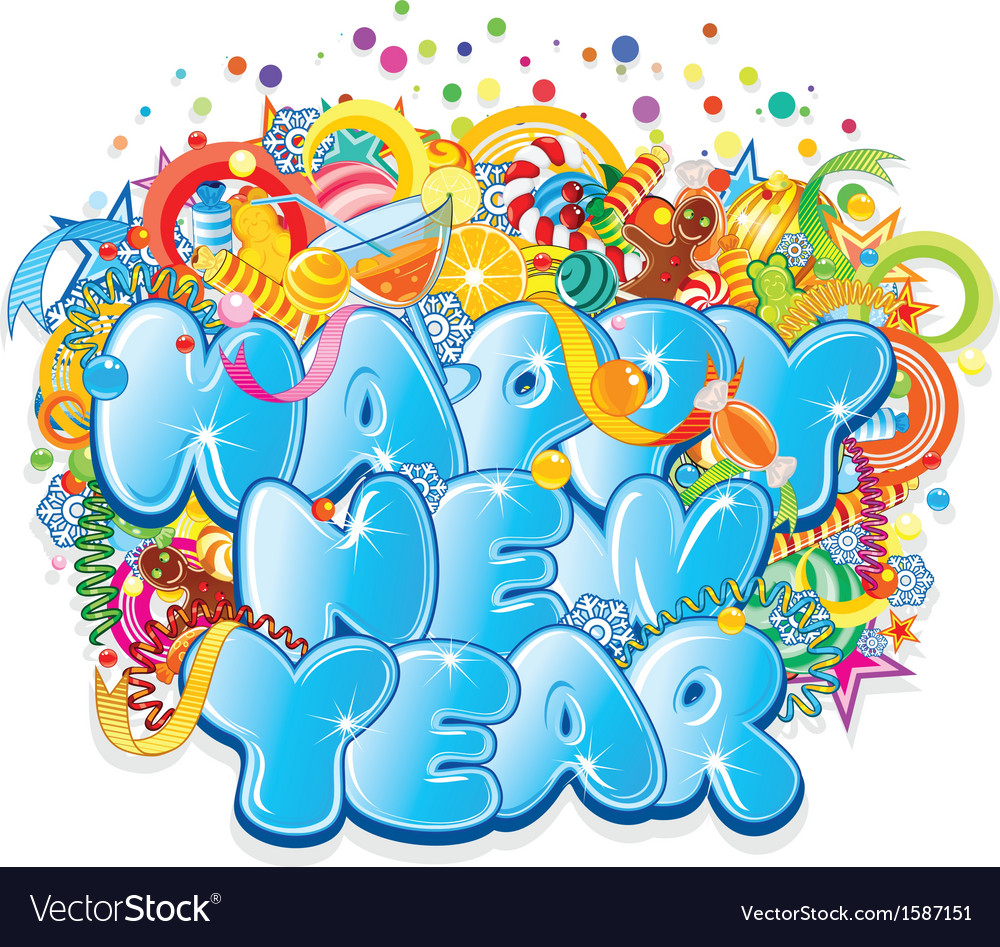 Happy New Year Title Design vector image