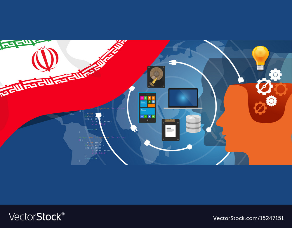 Iran information technology digital infrastructure vector image