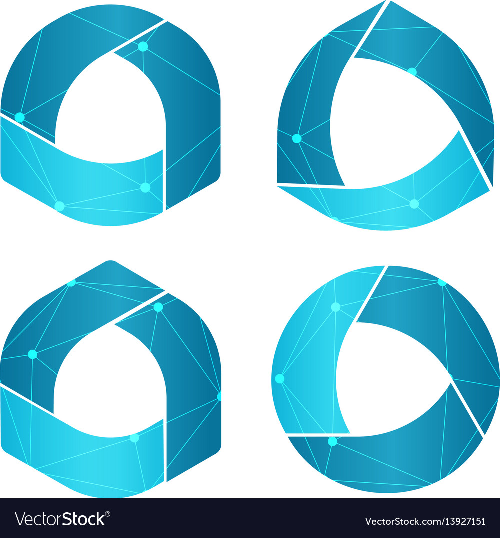 Isolated abstract round shape blue color logo set vector image
