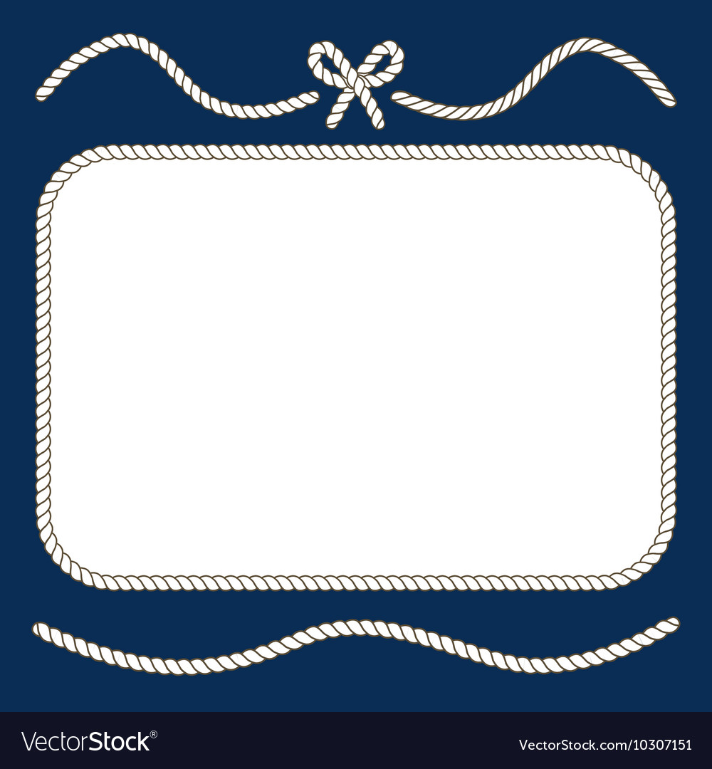 Nautical ropes and bow frame vector image