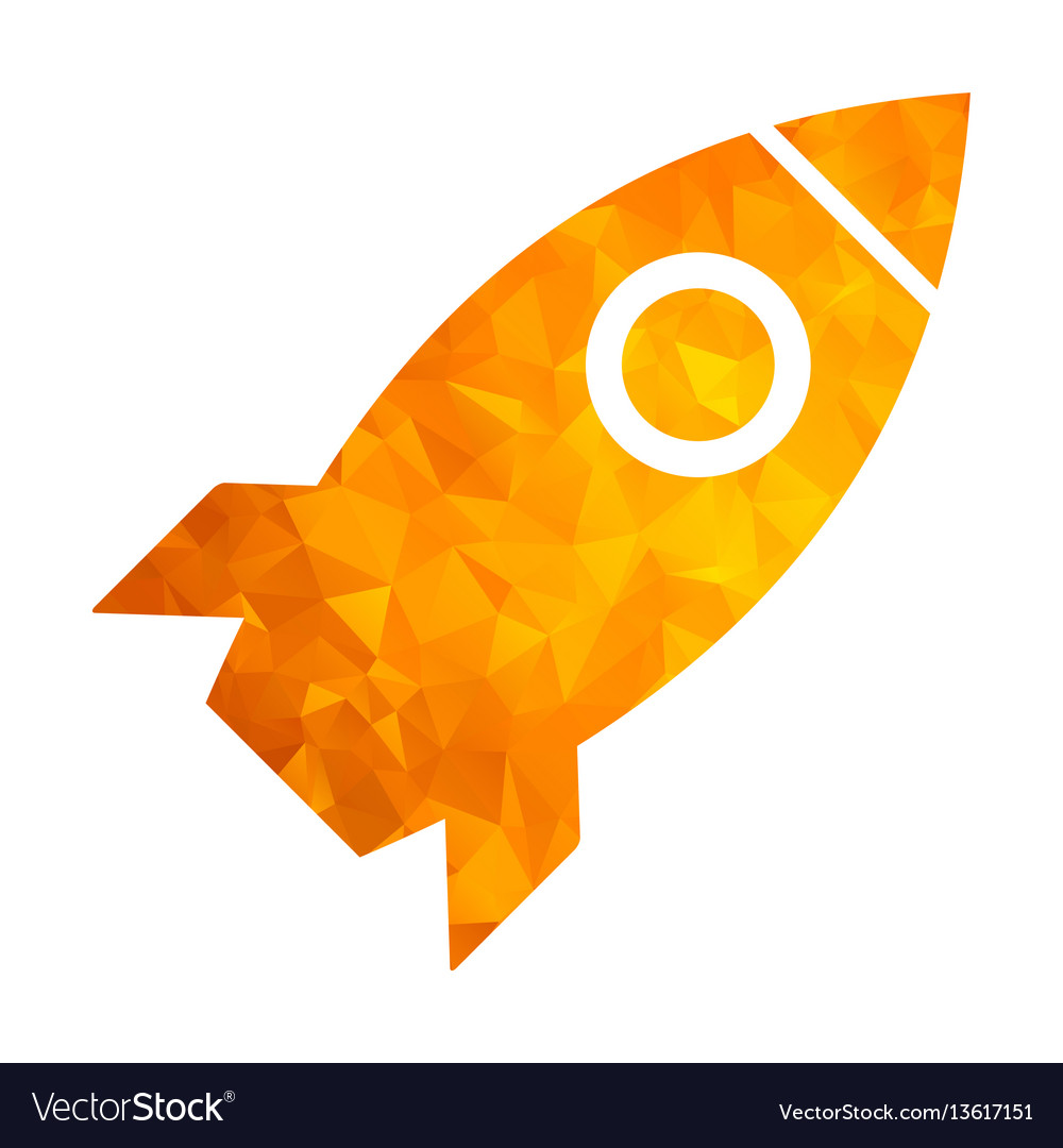 Polygon golden icon rocket