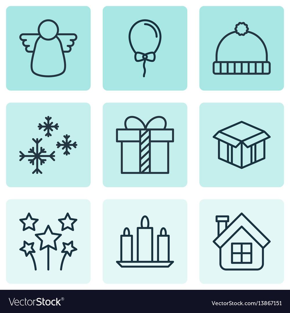 Set of 9 celebration icons includes festive