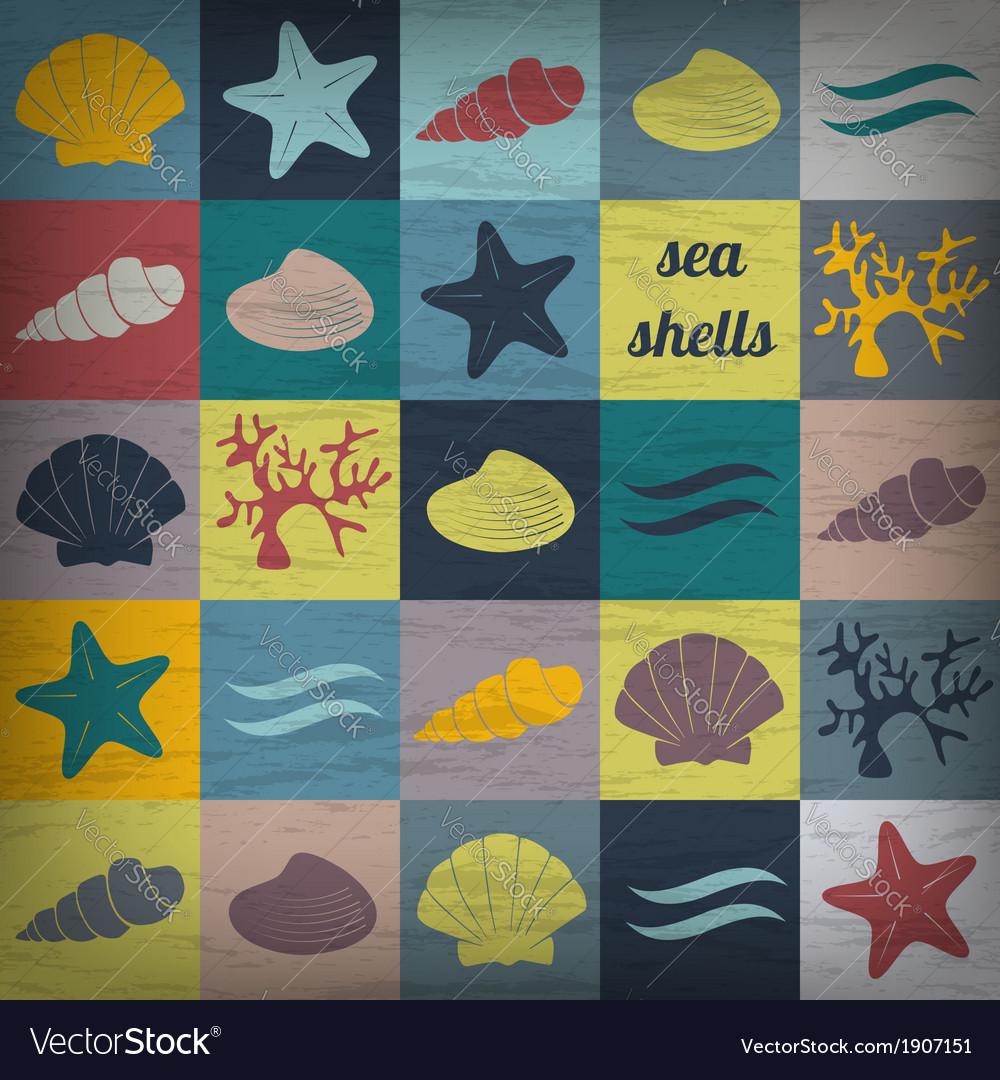 Vintage seashell flat wallpaper