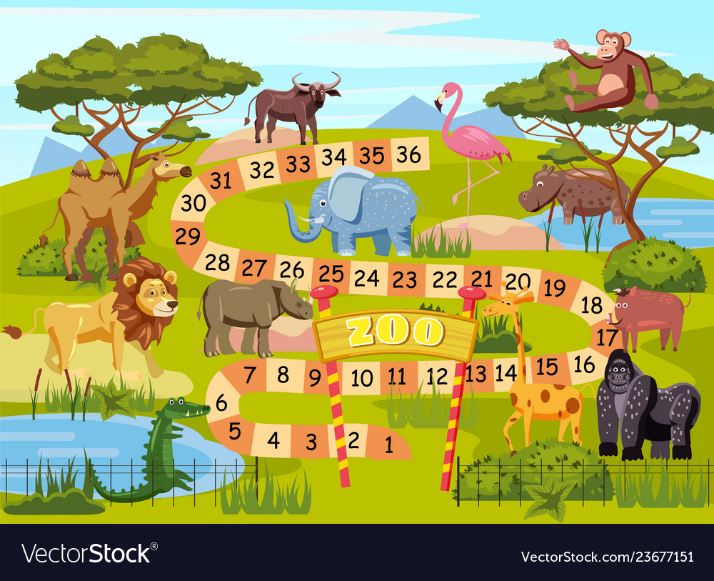 Zoo board game with numbers for children lion