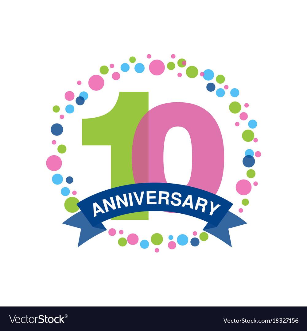 10th anniversary colored logo design happy
