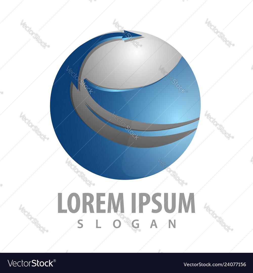 Abstract sphere arrow logo concept design symbol