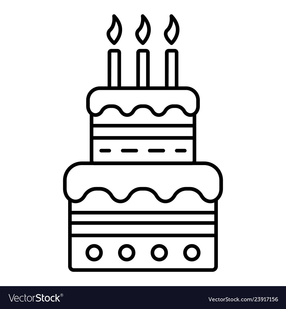 Fine Birthday Cake With Candles Icon Outline Style Vector Image Birthday Cards Printable Trancafe Filternl