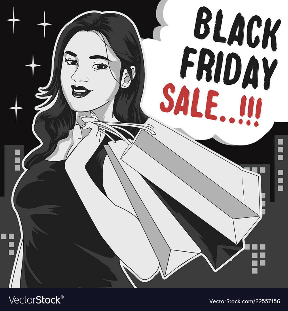 Black friday girl shopping