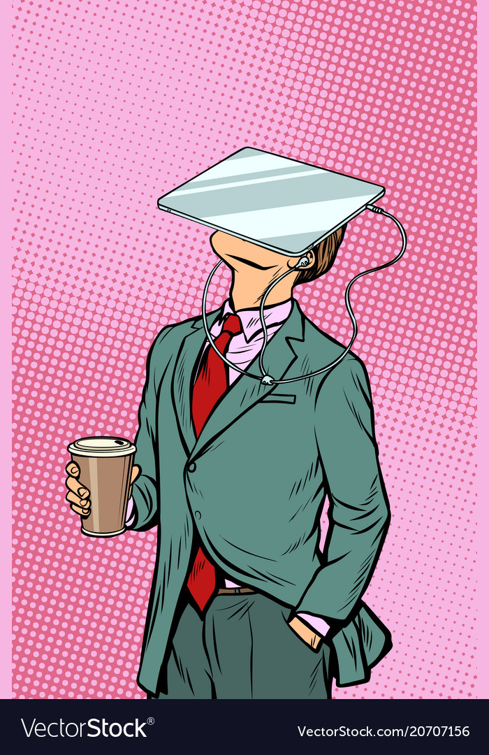 Businessman drinking coffee and watching tablet vector image