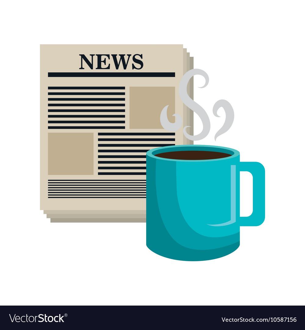 Cartoon news cup coffee isolated