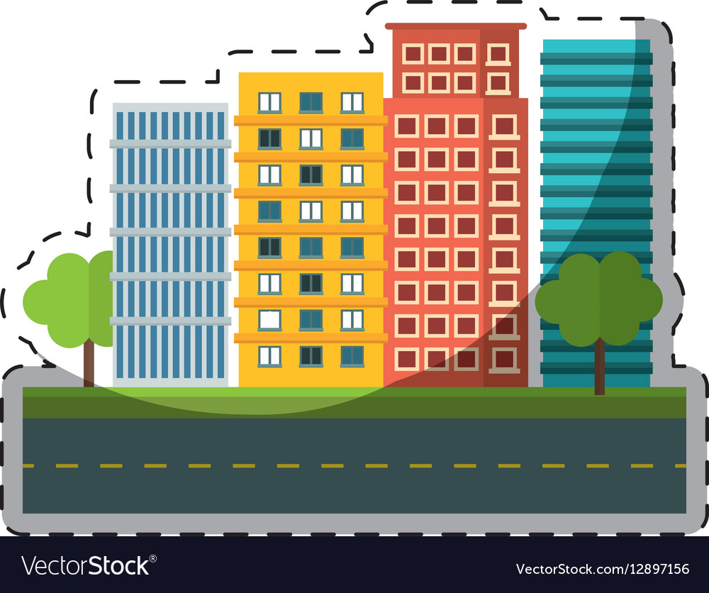 Colorful city scene and building with trees image