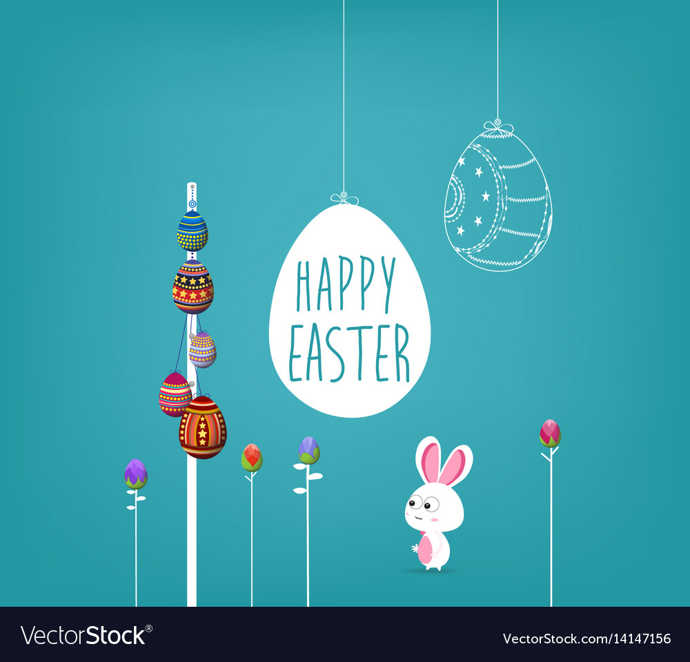 Easter poster hanging eggs on blue background