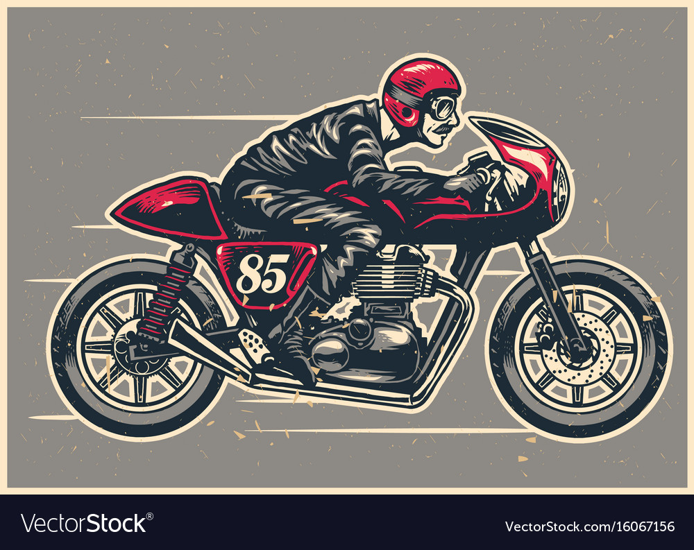 Hand Drawing Man Riding A Cafe Racer Royalty Free Vector