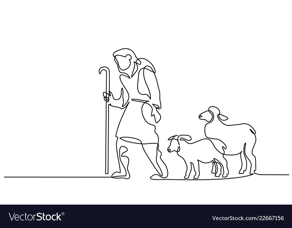 Merry christmas shepherd and sheeps one line drawn