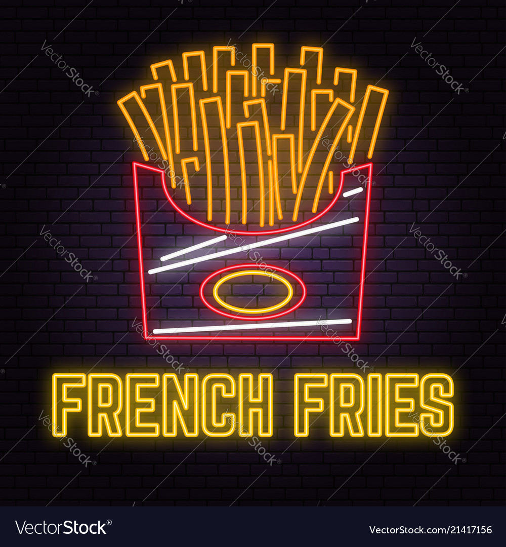 Retro neon french fries sign on brick wall