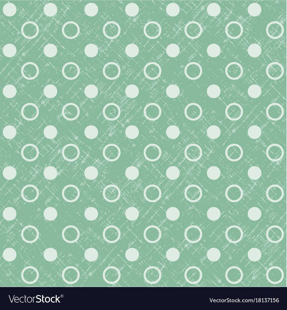 Retro seamless polka dot green background vector image