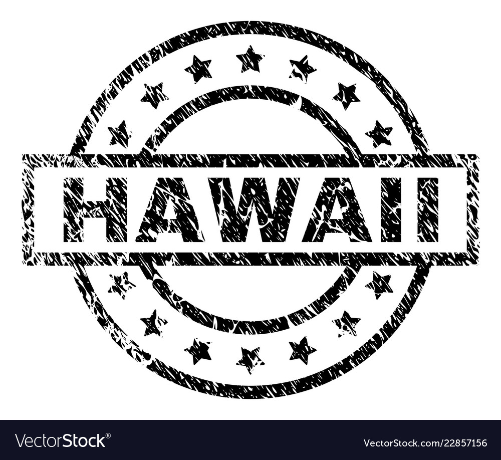 Scratched Textured Hawaii Stamp Seal Vector Image