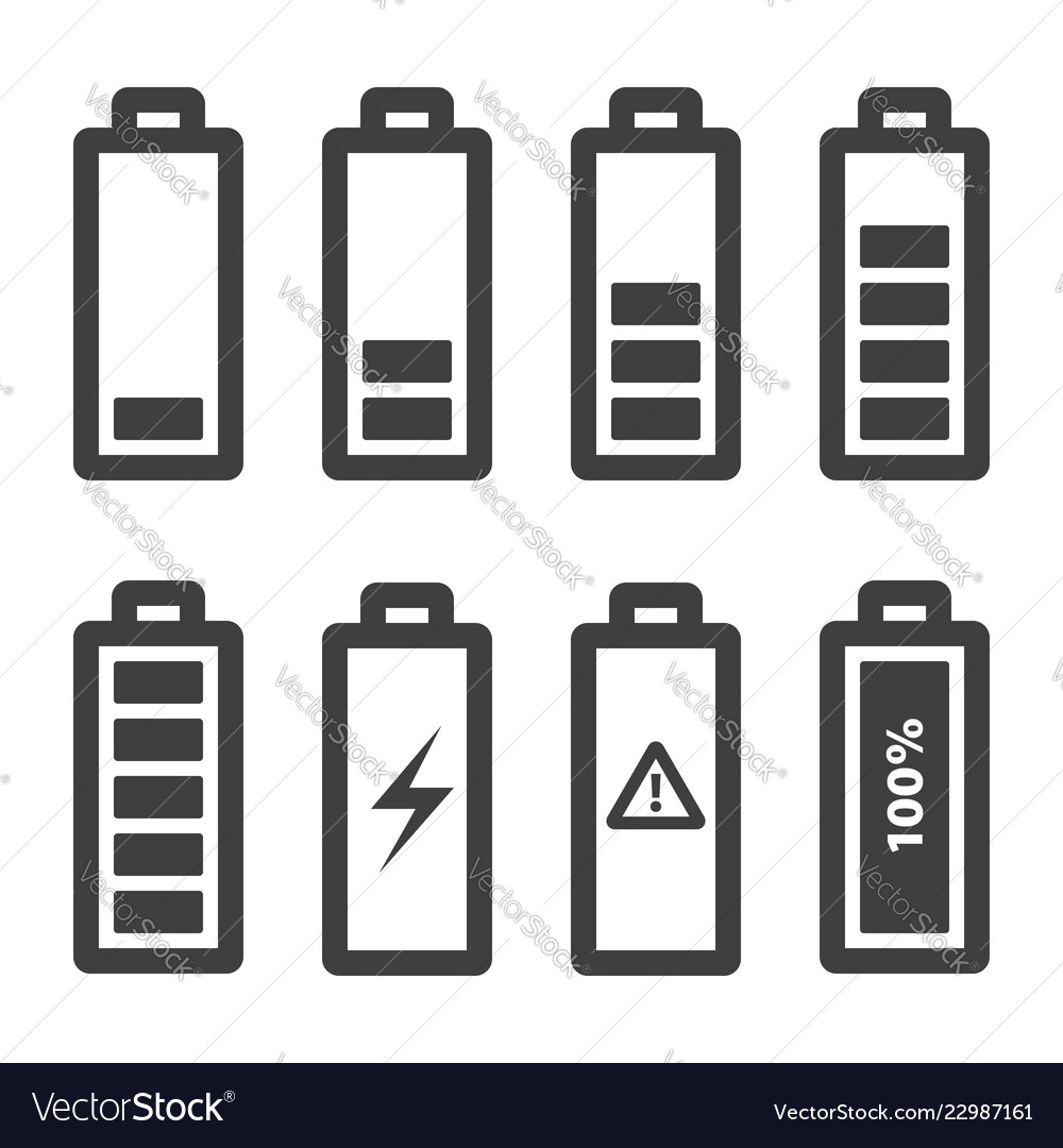 Battery icons set icons outline isolated