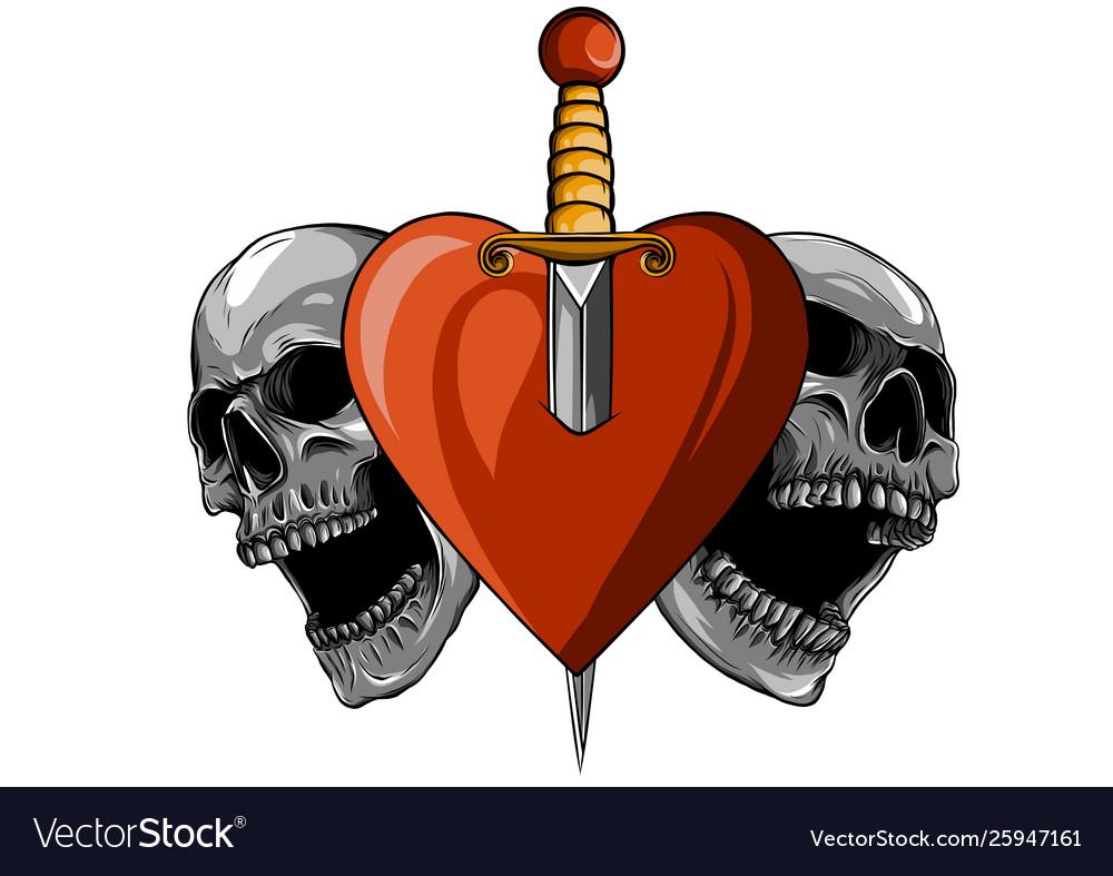 Beautiful romantic skulls with sword and elegant