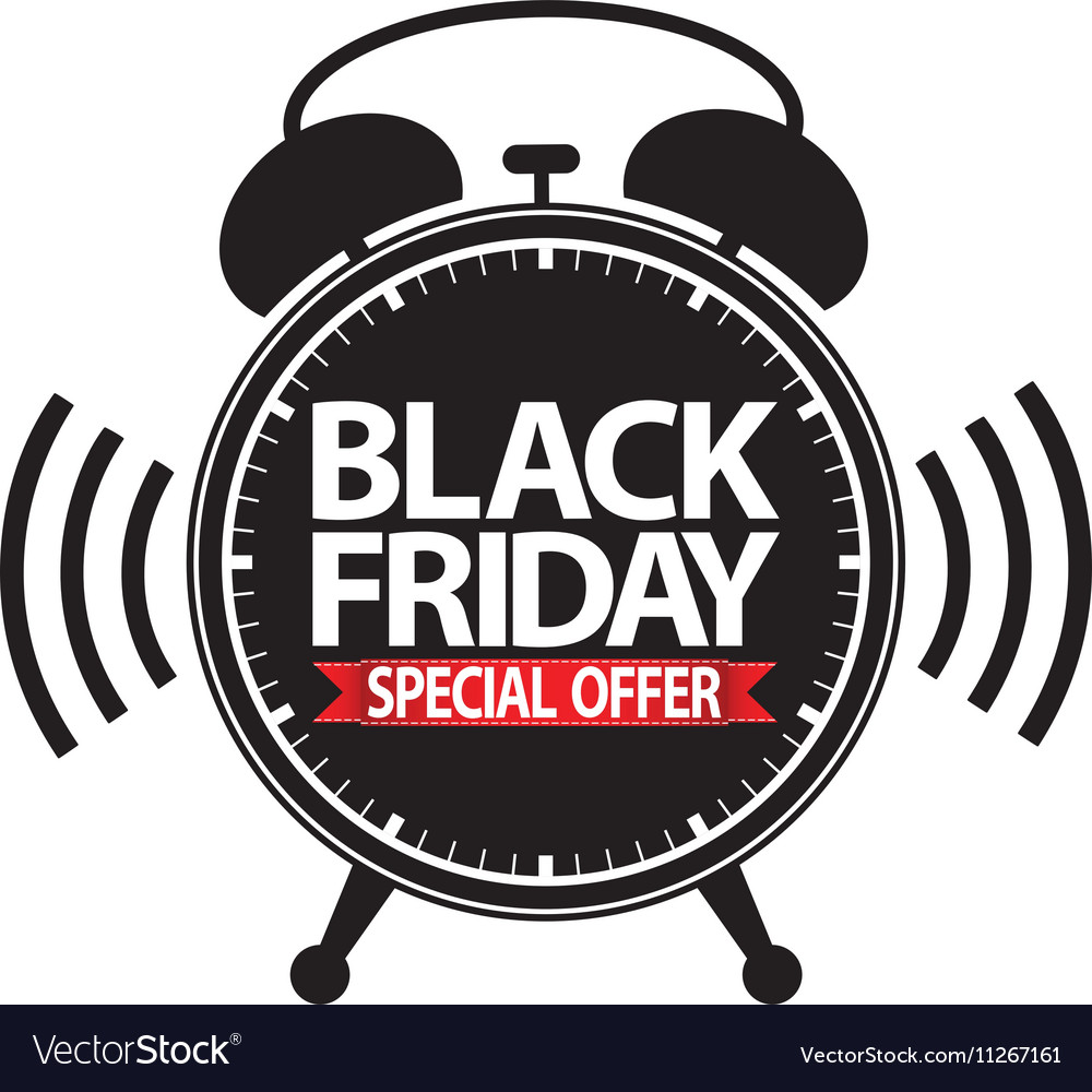 Black friday special offer alarm clock black icon
