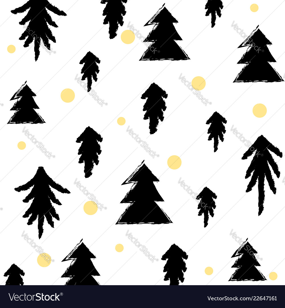Black gold seamless christmas tree pattern