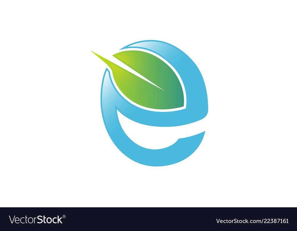 Green e letter leaf blue logo