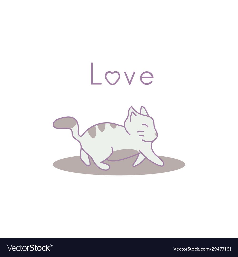 Hand drawn cat walking eps 10