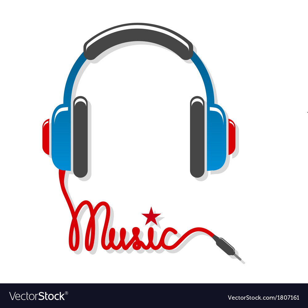 Headphones with cord and word music Royalty Free Vector