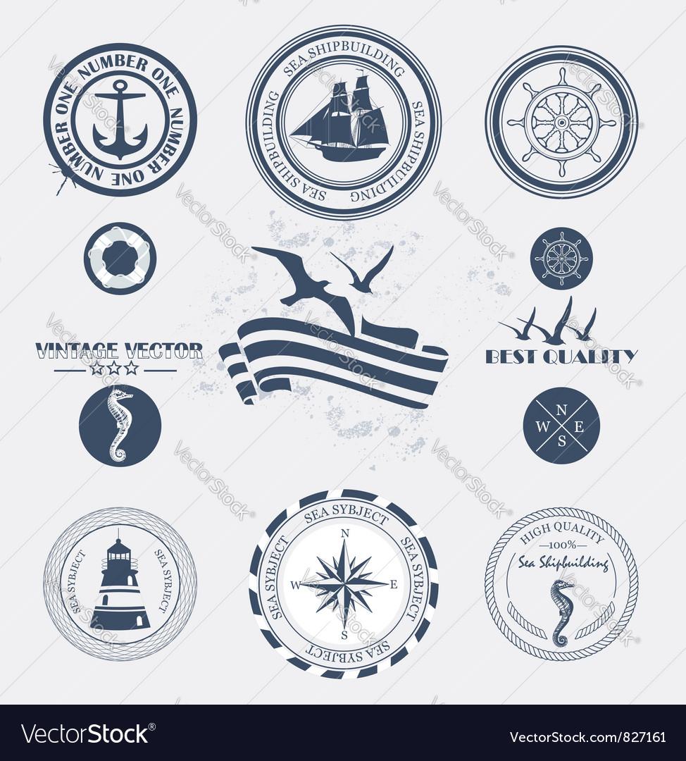 Labels sea vector image