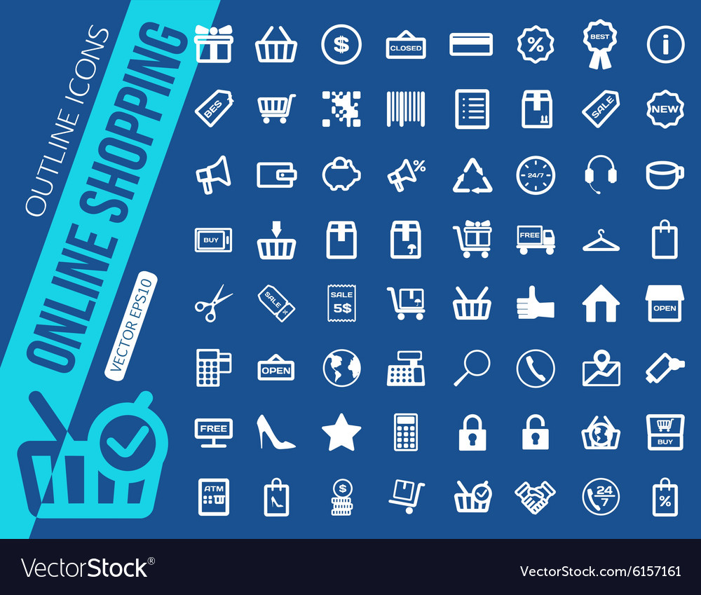 Mega collection of outline shopping icons Online