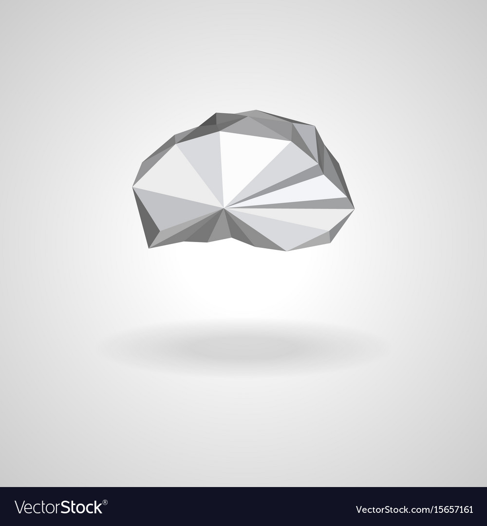 Polygonal low poly cloud with shadow