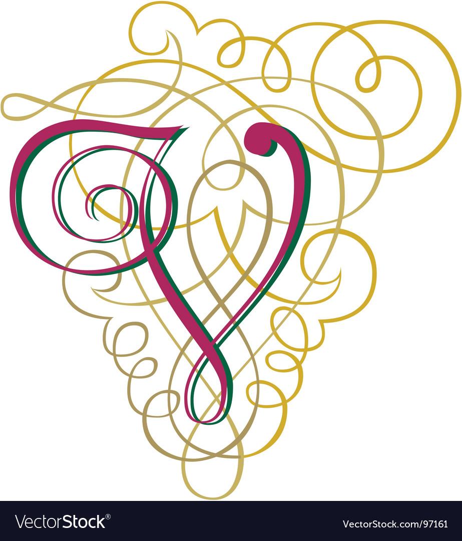 Script Letter V Vector Image