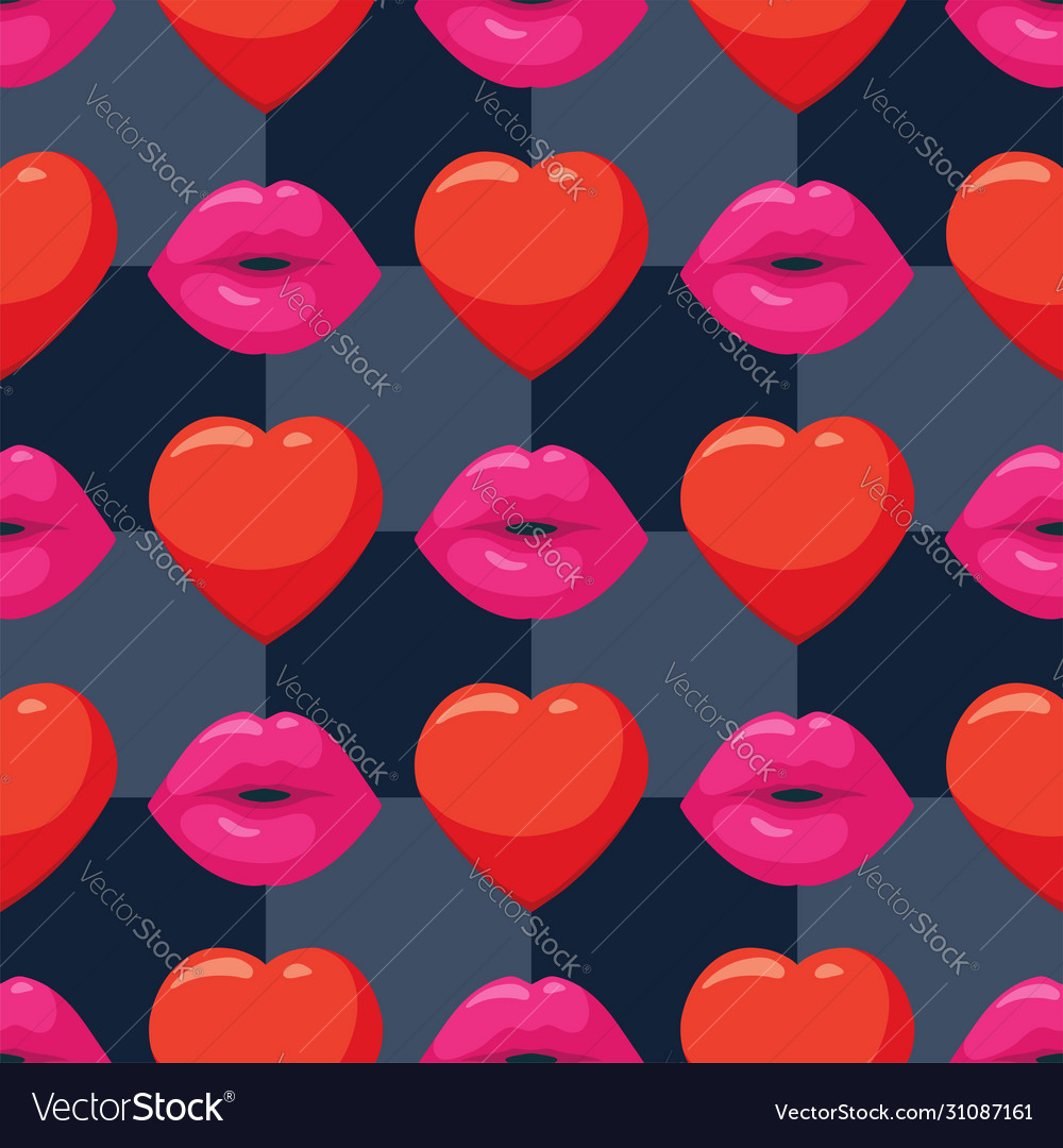 Seamless background with woman pink lips