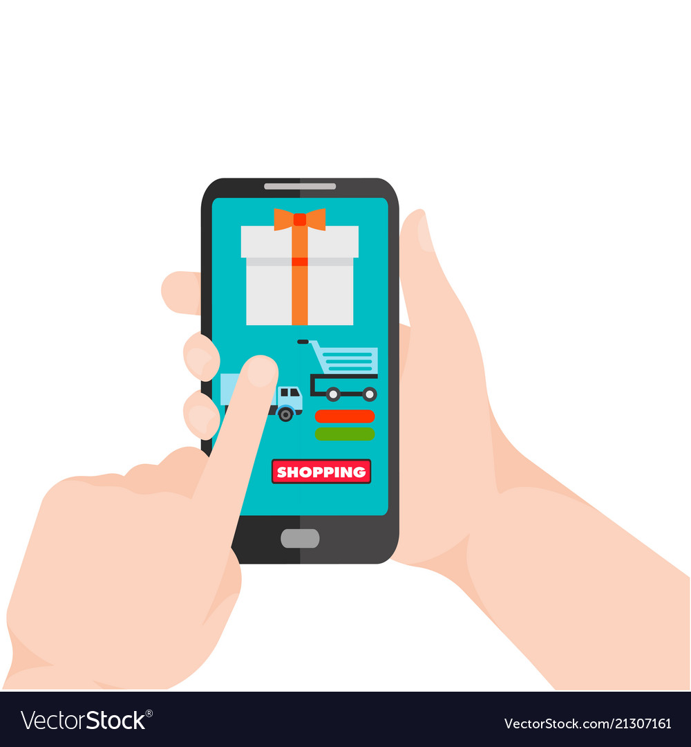 Shopping infographic hand holding mobile backgroun